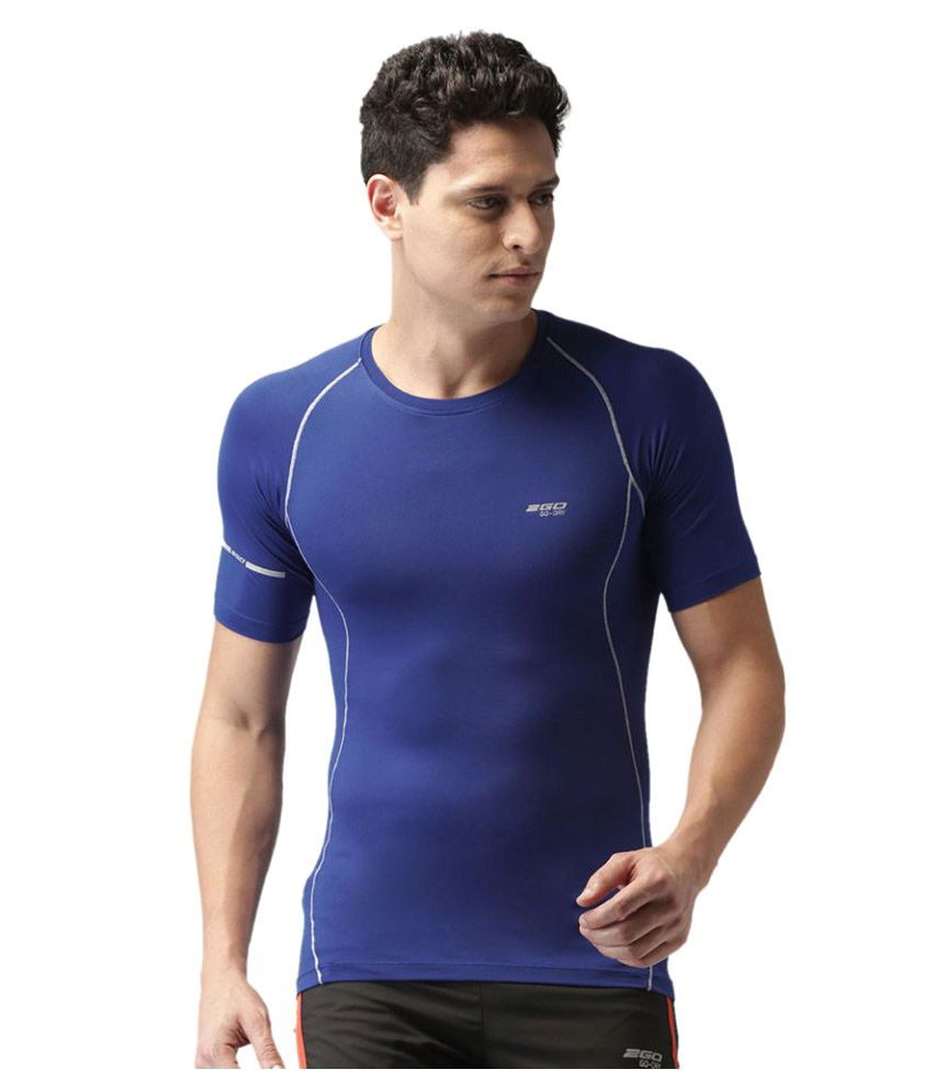 2GO Electric Blue Performance Half sleeves T-shirt