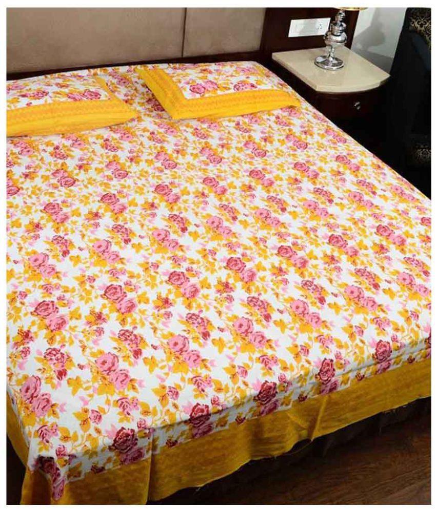 Uniqchoice Double Cotton Multicolor Bed Sheet
