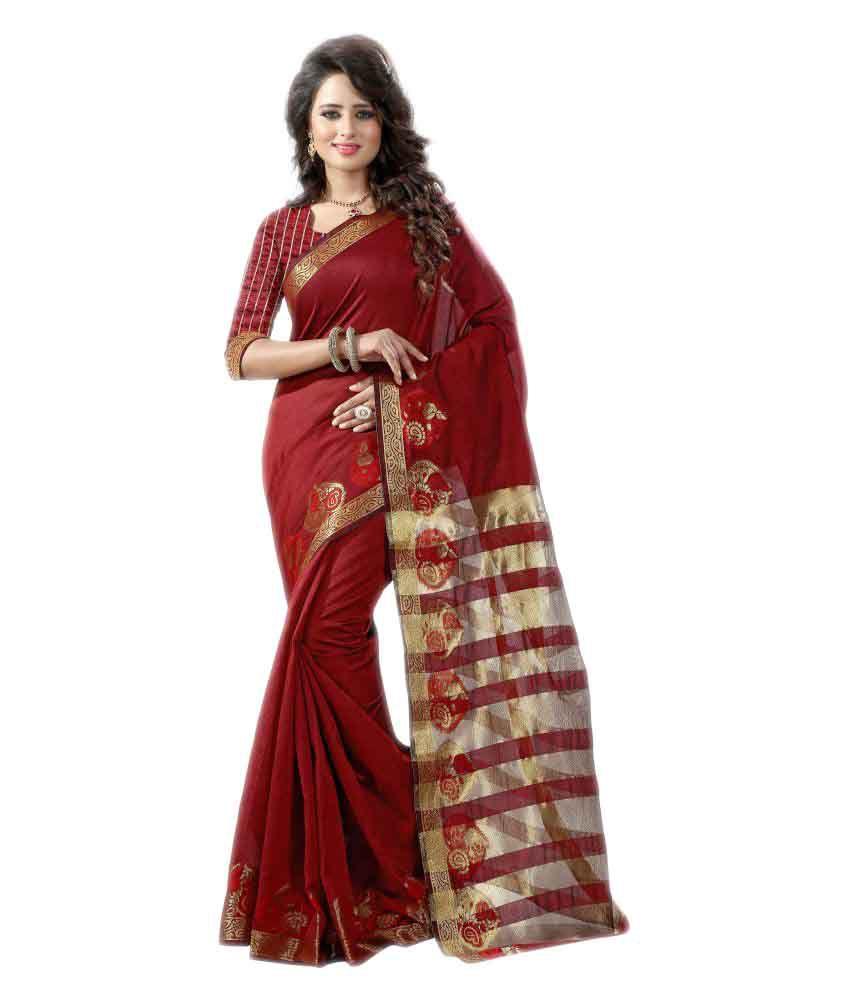 Ladie Silk Maroon Cotton Silk Saree