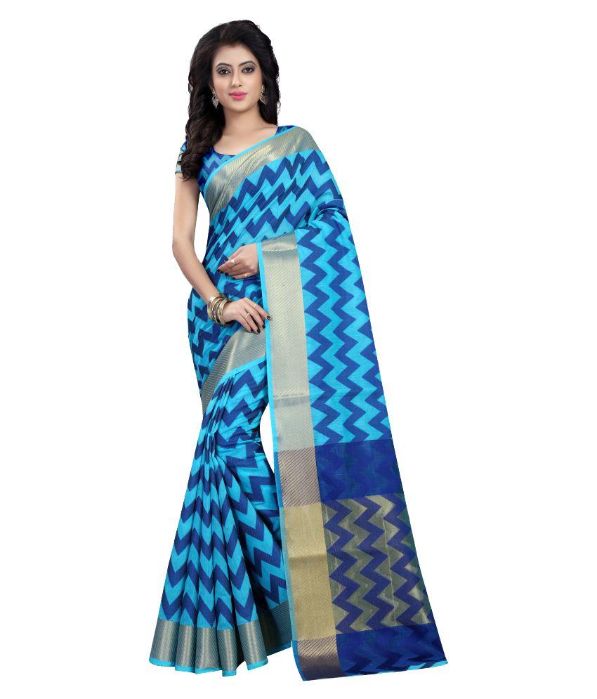 Ladie Silk Turquoise Cotton Silk Saree