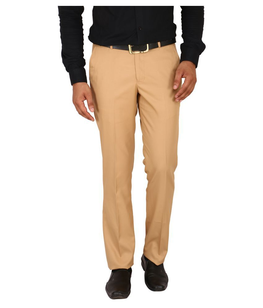 Matalino Khaki Slim -Fit Flat Trousers