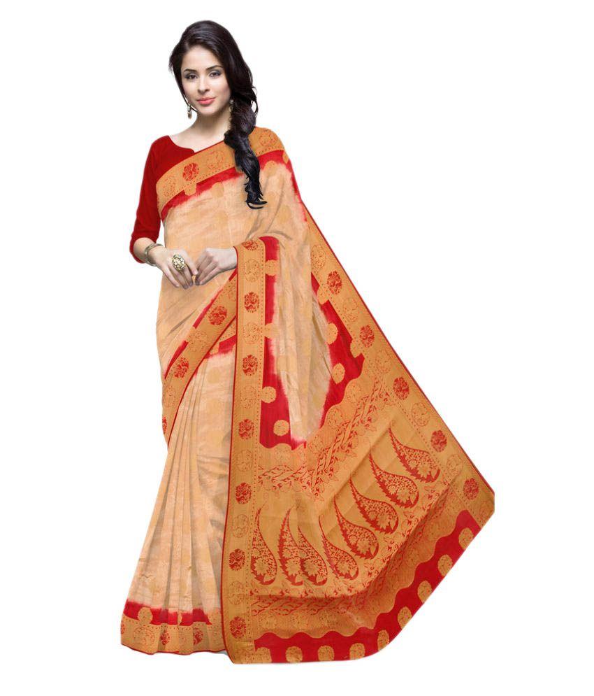 Well Tex Beige Banarasi Silk Saree