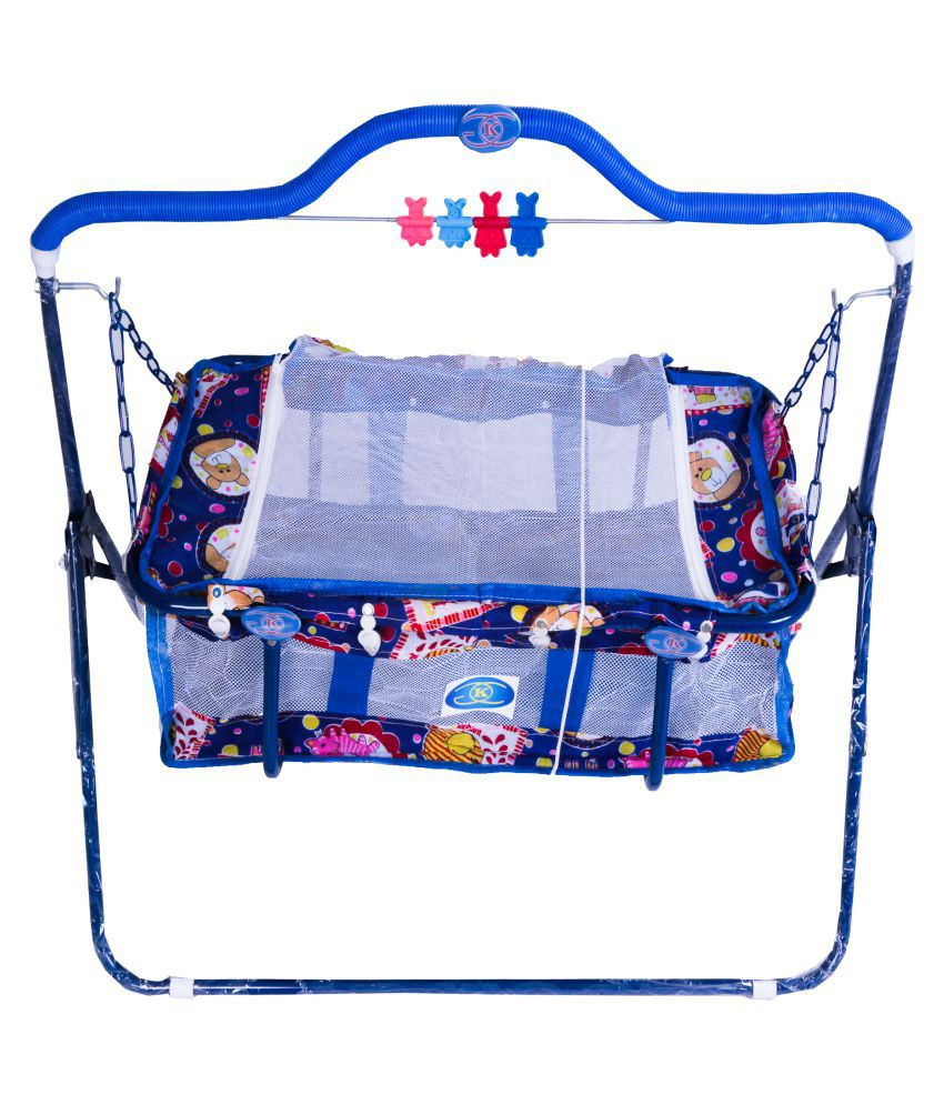 KGC Networks Kids Multifunctional Baby Best Bassinet Cradle with Mosquito Net (MIJHULLASUPPORTBLUE123-123)