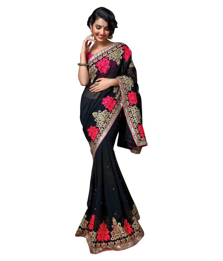 c124f8270d Kanak Sarees Black Georgette Saree - Buy Kanak Sarees Black Georgette Saree  Online at Low Price - Snapdeal.com