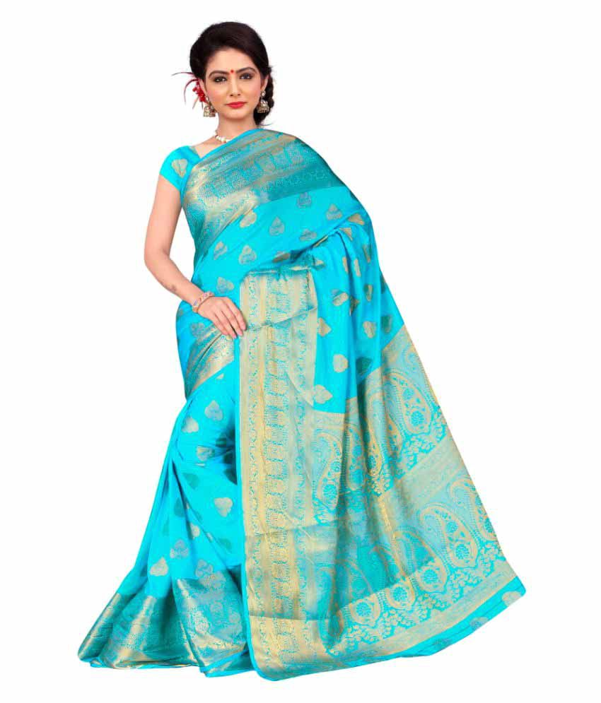 V & V Shop Blue Silk Saree