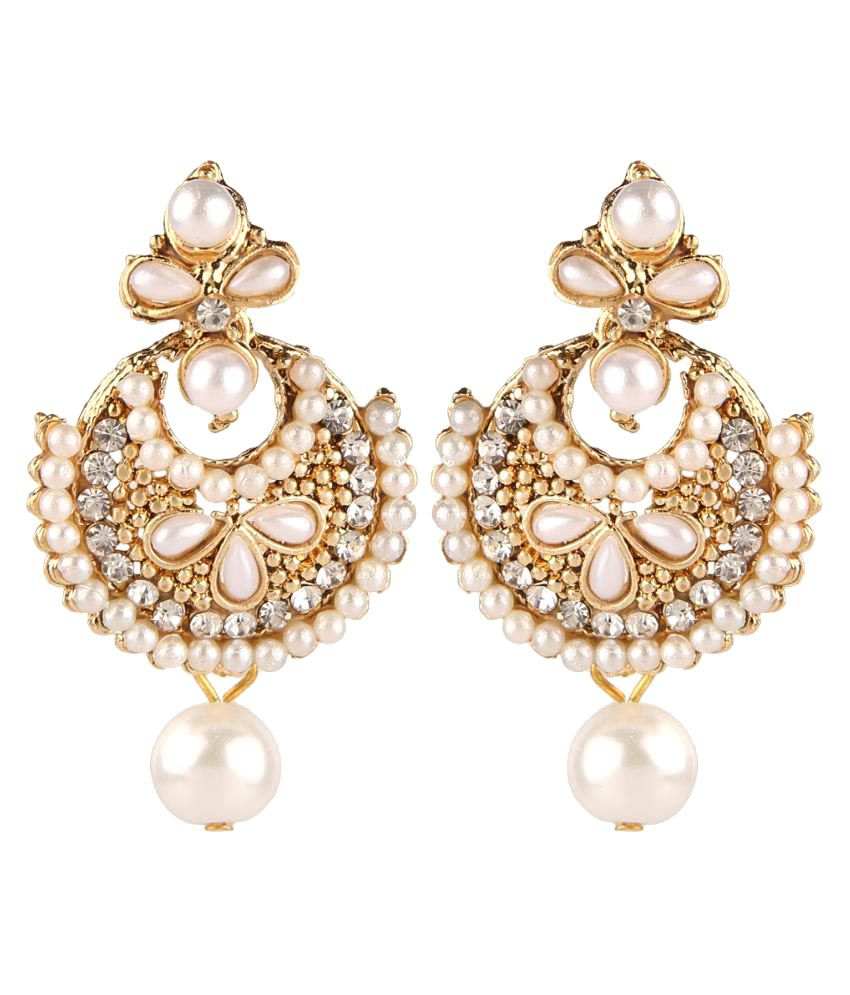 Parinaaz Antique Gold Plated Pearl Traditional Chandbali Earrings for Girls and Women