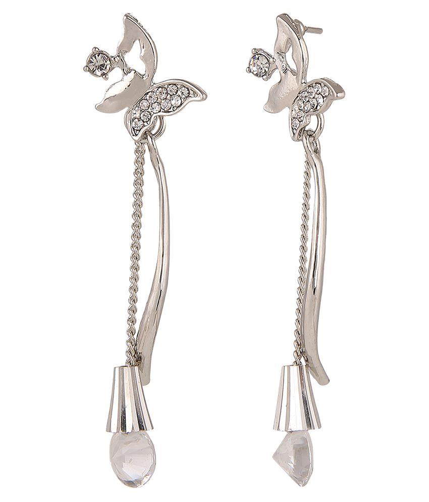 Parinaaz Jewellery Trendy Silver Plated White Fancy Party Wear Dangler Earrings for Girls and Women