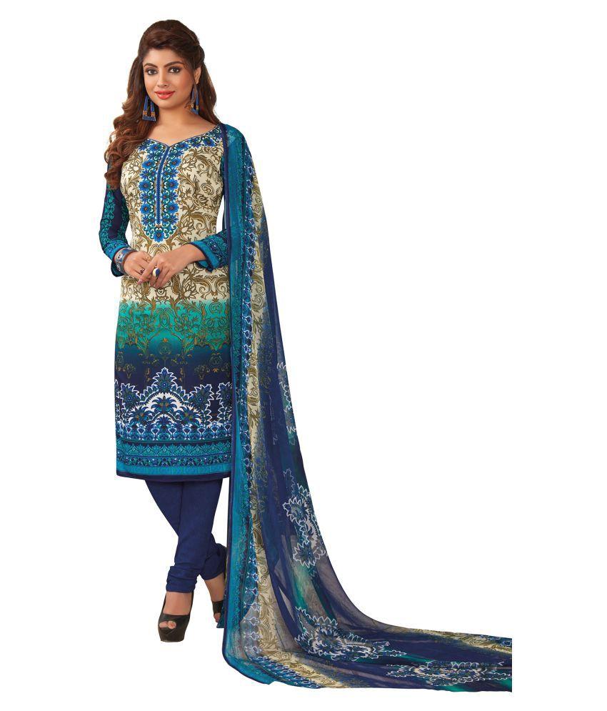 Salwar Studio Multicoloured Crepe Dress Material