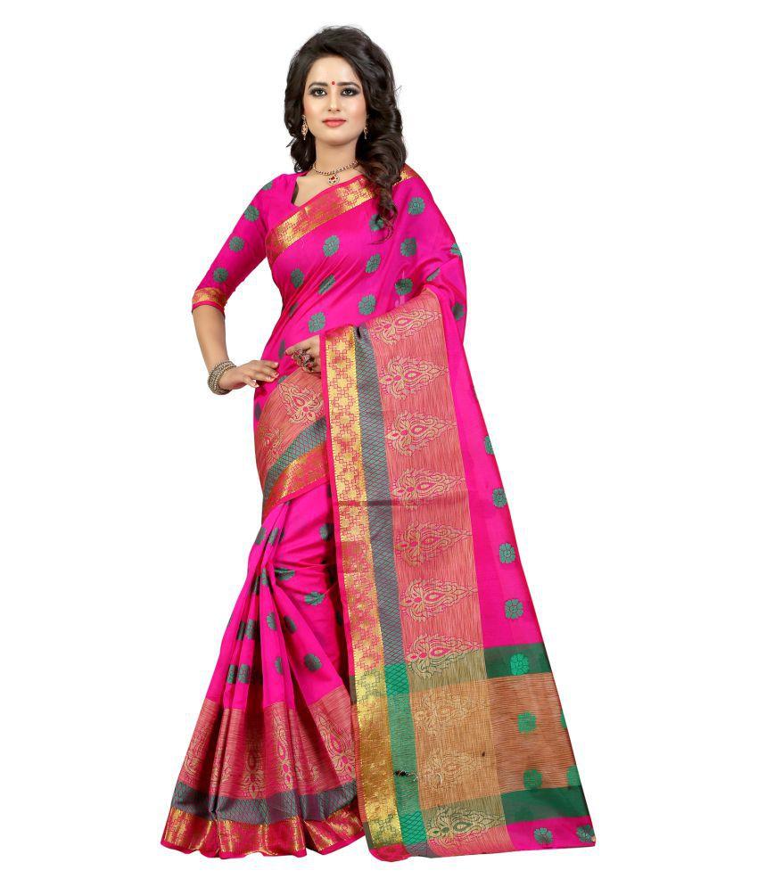 Vishwas Enterprise Pink Banarasi Silk Saree