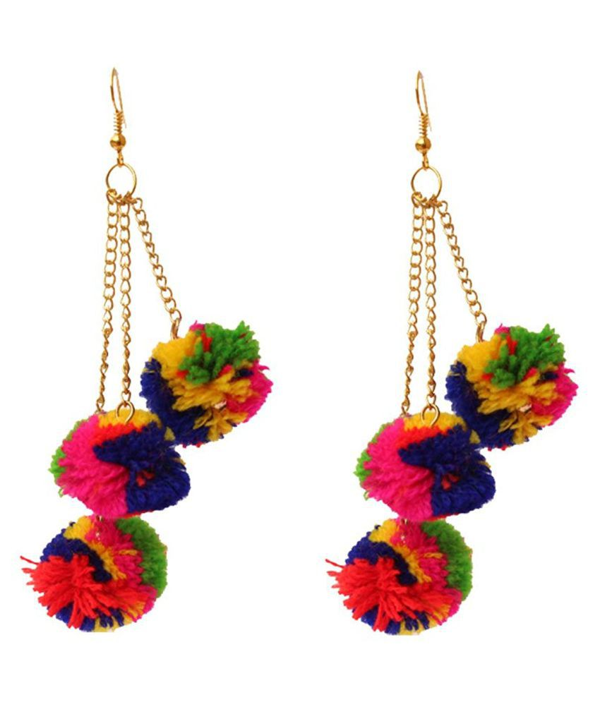 Penny Jewels Alloy Gold Plated Simple Designer Colored Pom Pom ...