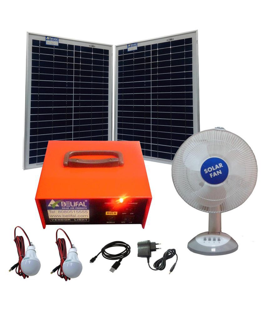 solar home lighting system 12v dc table fan bulb solar panel rh snapdeal com