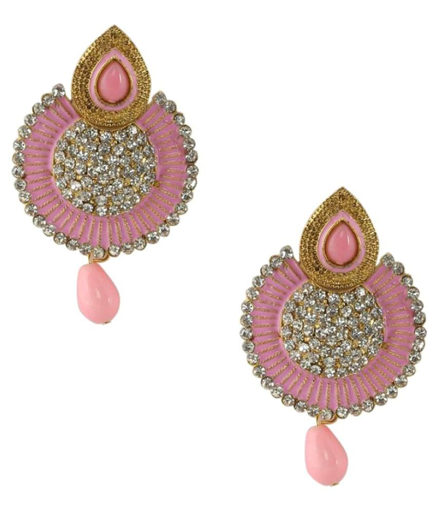 Jewels Gold Antique Party Wear & Wedding Simple Hanging Earrings Set For Women & Girls