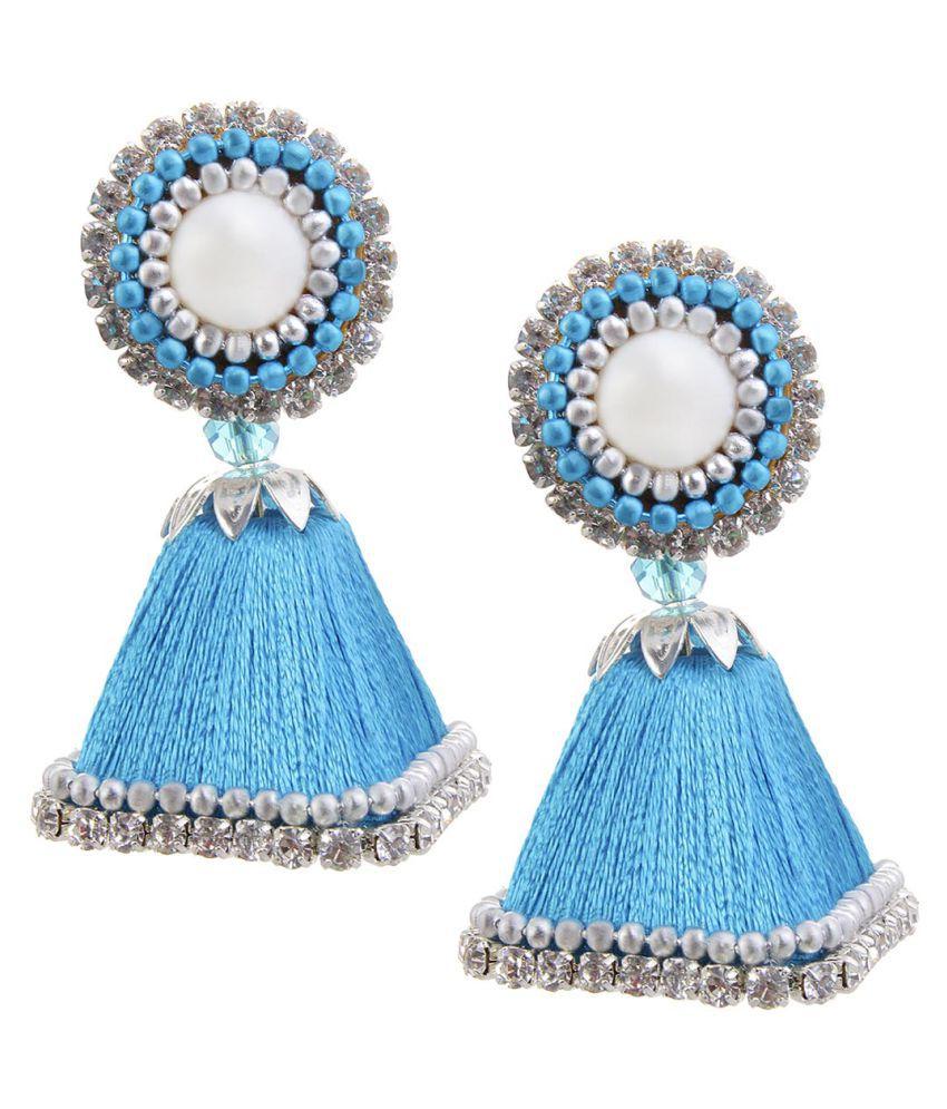 Halowishes Handmade Silk Thread Work Sky Blue Jhumki