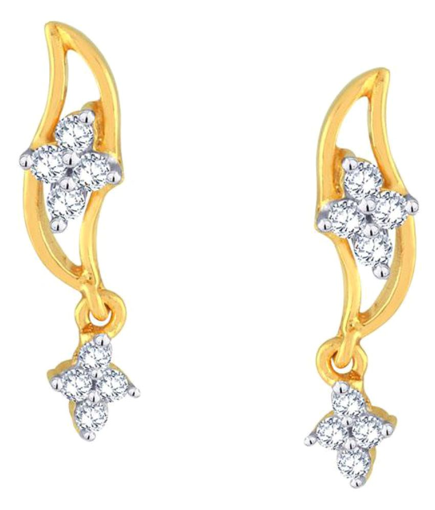 Glitterati 18k BIS Hallmarked Yellow Gold Diamond Drop Earrings