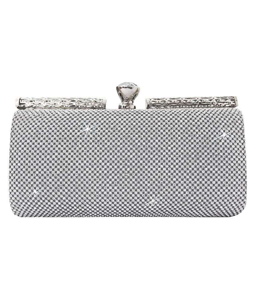 48e6240d59 Buy Catman Silver Faux Leather Box Clutch at Best Prices in India - Snapdeal
