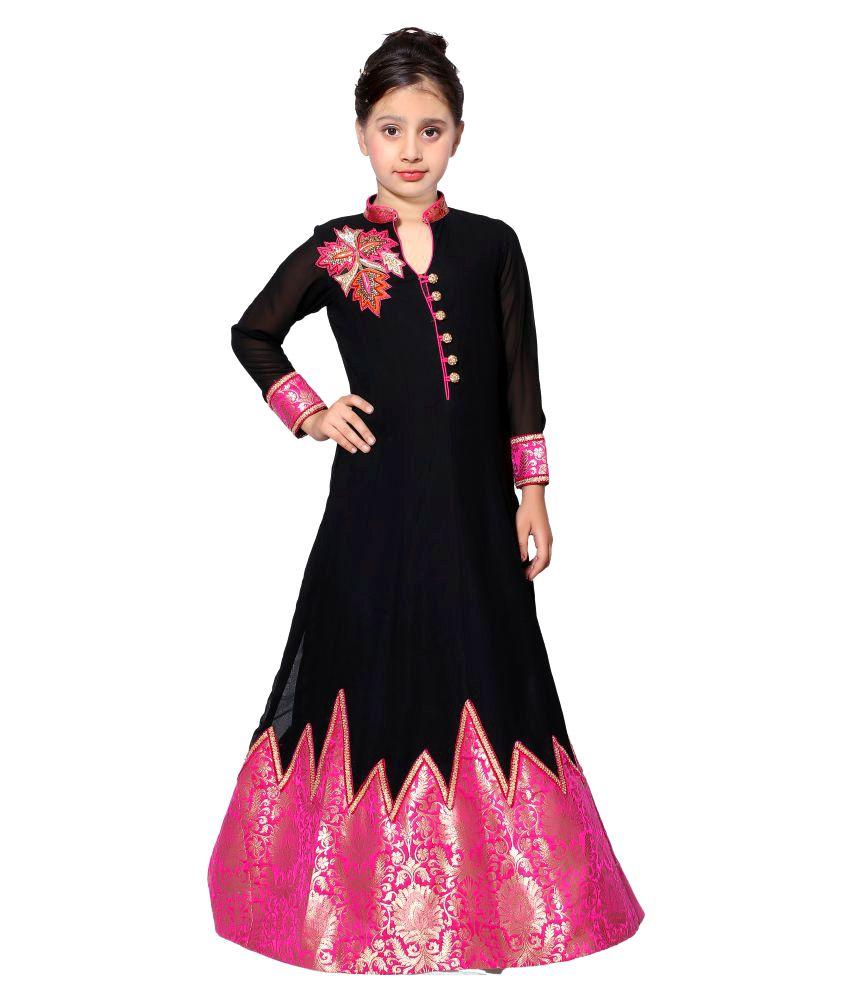 374852f1644c3 Girls Black Long Designer Anarkali Set available at SnapDeal for Rs.6299