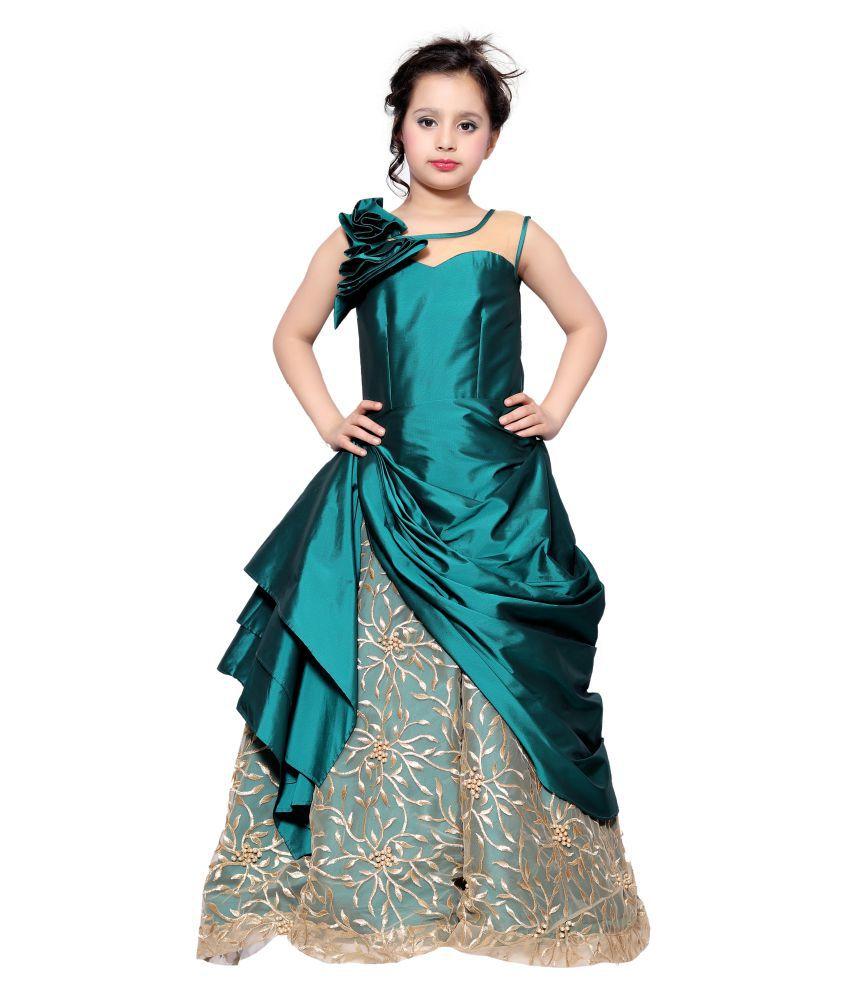 Girls Green Designer Gown - Buy Girls Green Designer Gown Online at ...