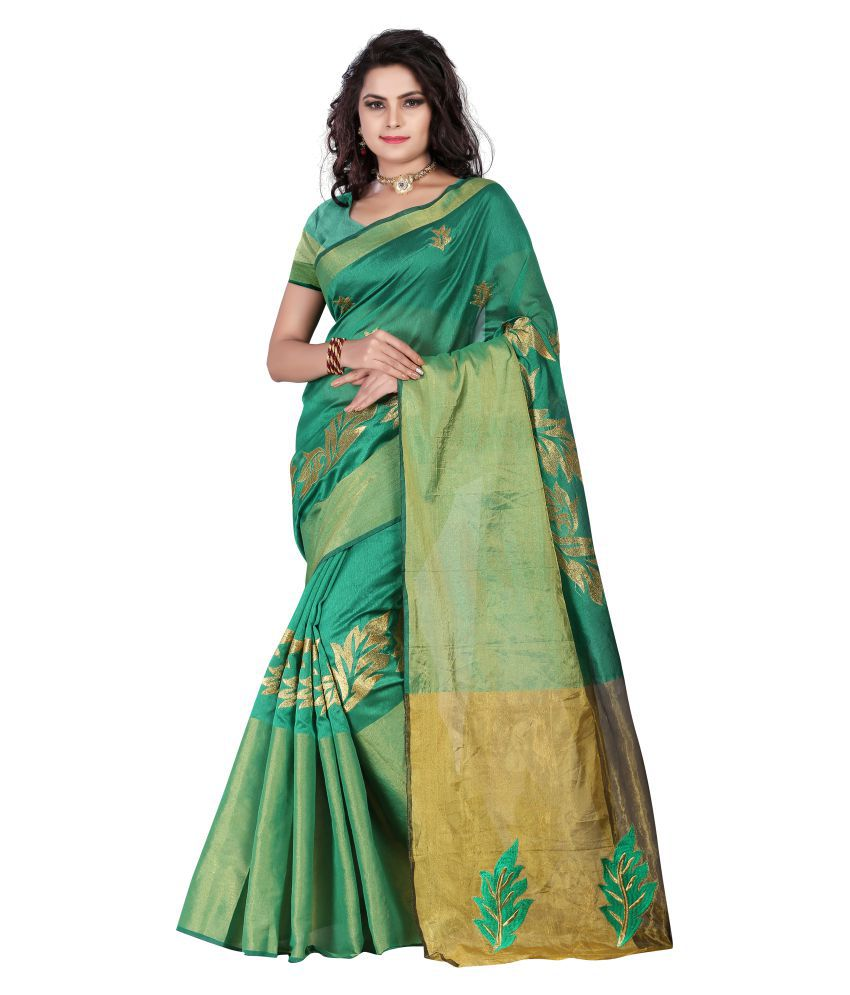 Luga Green Cotton Silk Saree
