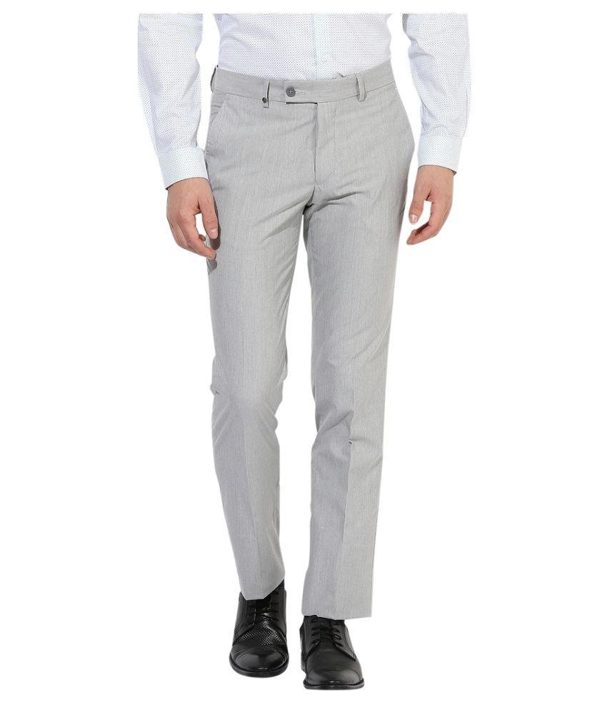 London Bridge Grey Slim -Fit Flat Trousers