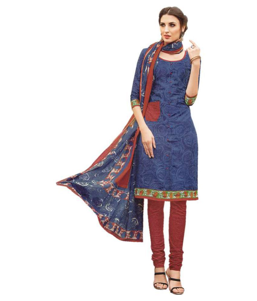 Kumaran Silks Blue Cotton Dress Material