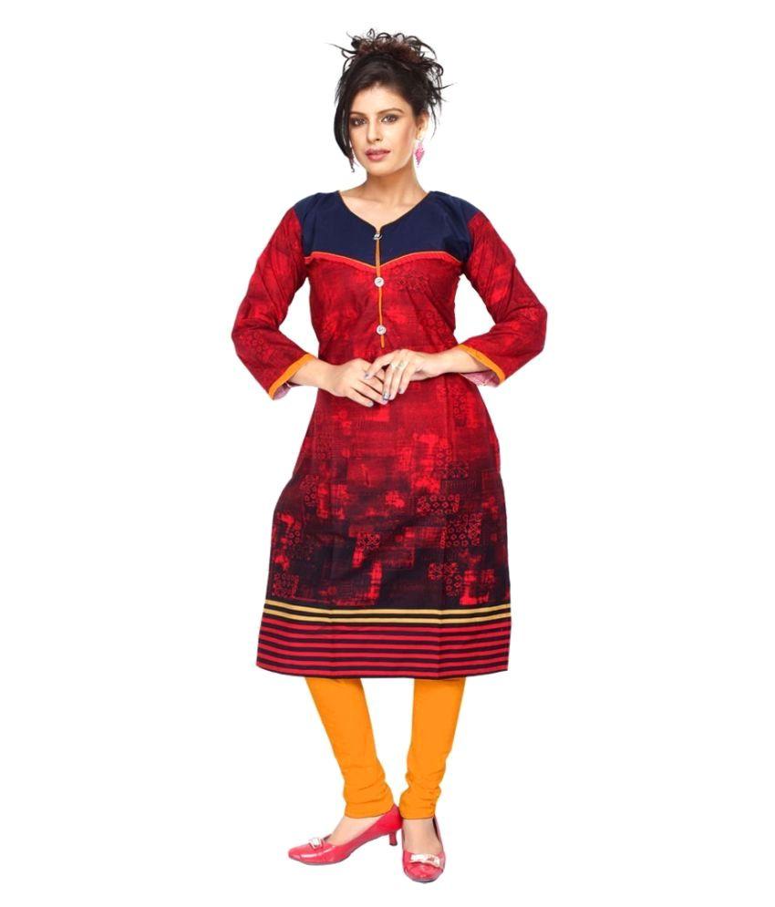 Bhagyalady Multicoloured Denim Straight Kurti