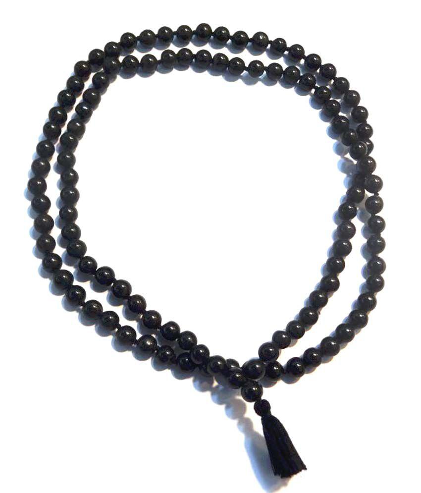 Himalaya Rudraksha Kendra 100 % Original And Natural Black Agate Hakik Japa Mala - Protection Against Bad Evils 108 + 1 Beads ( 8 mm )