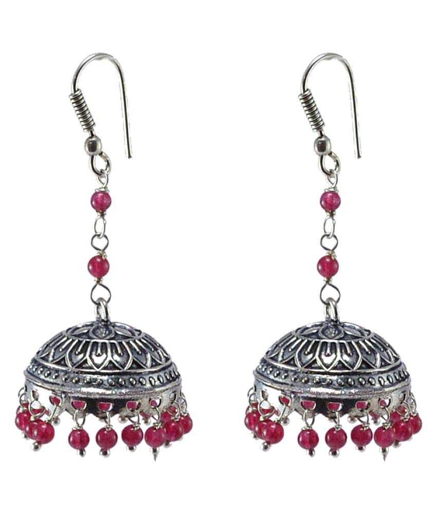 Urban Tribal Jaipuri Handmade Earring-Pink Quartz Beaded Dome Shaped Big Jhumka-Silvesto India PG-105208