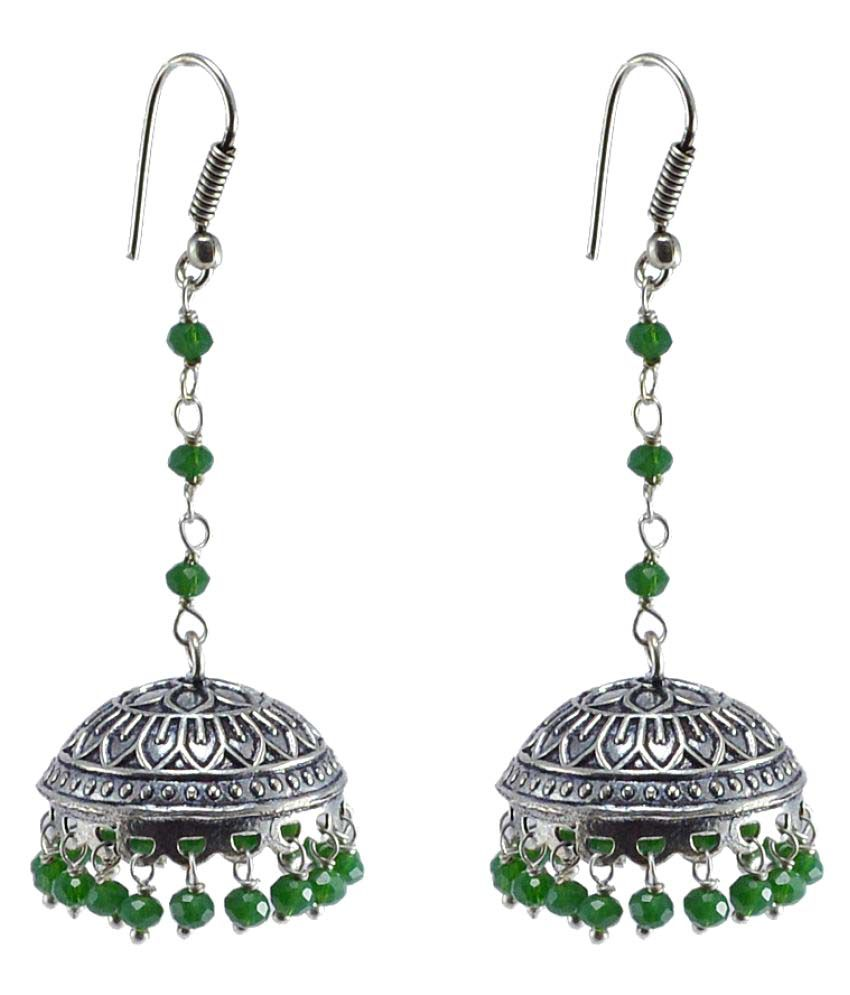 Silvesto India Tribal jewellery-Green Crystal Beads Jhumka-Dome Shape Earrings-Indian Jewelry PG-105282