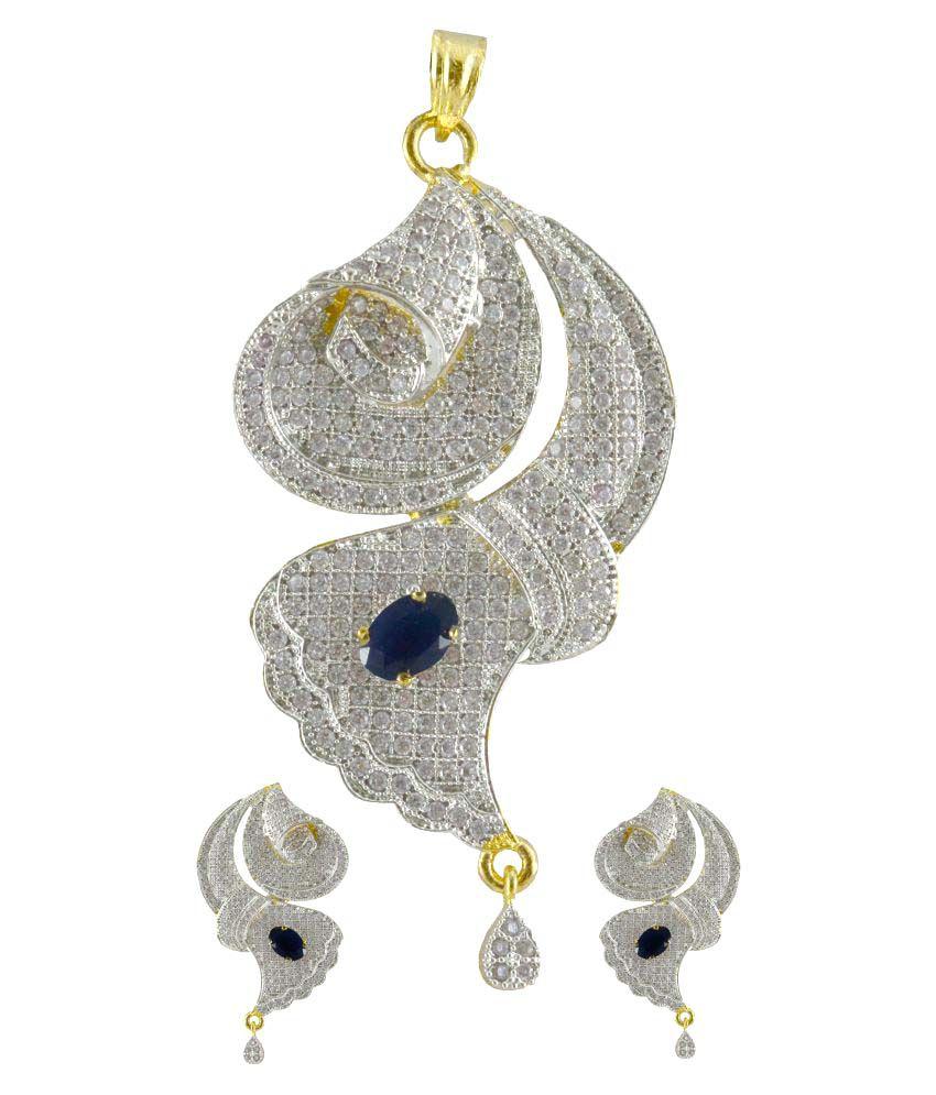 Two tone Cz American Diamond Jewellery For Women
