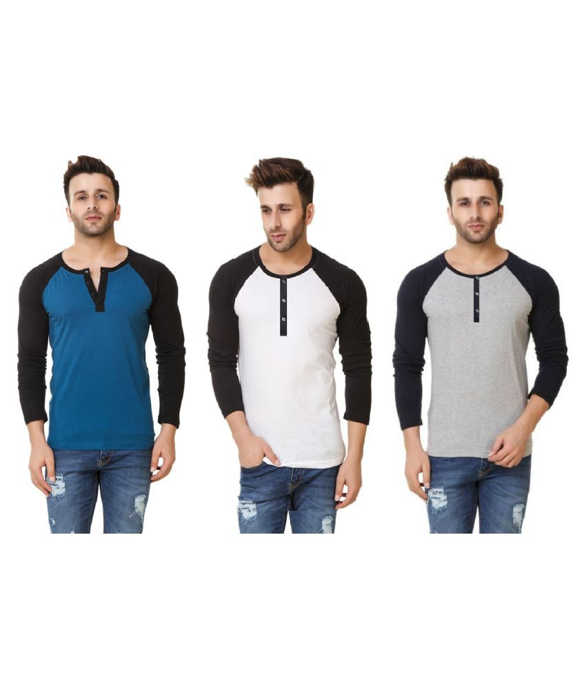 Urbano Fashion Multi Henley T-Shirt Pack of 3