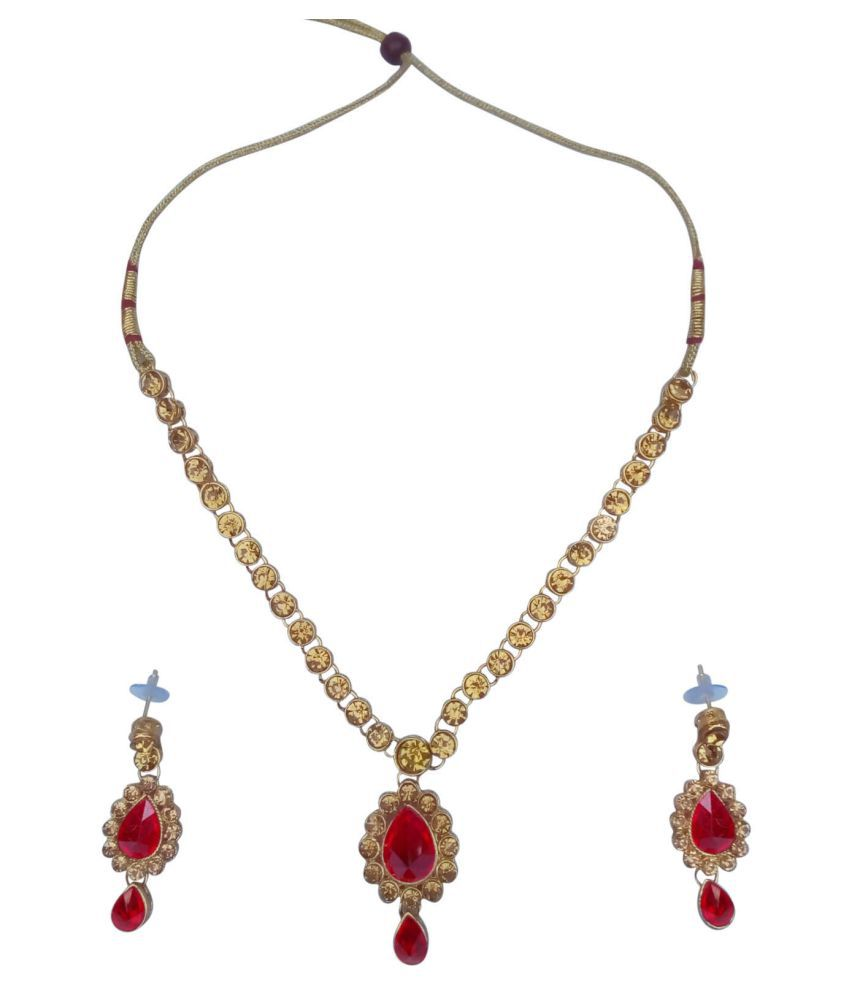 Ayan Creation Red & Gold Stone Necklace