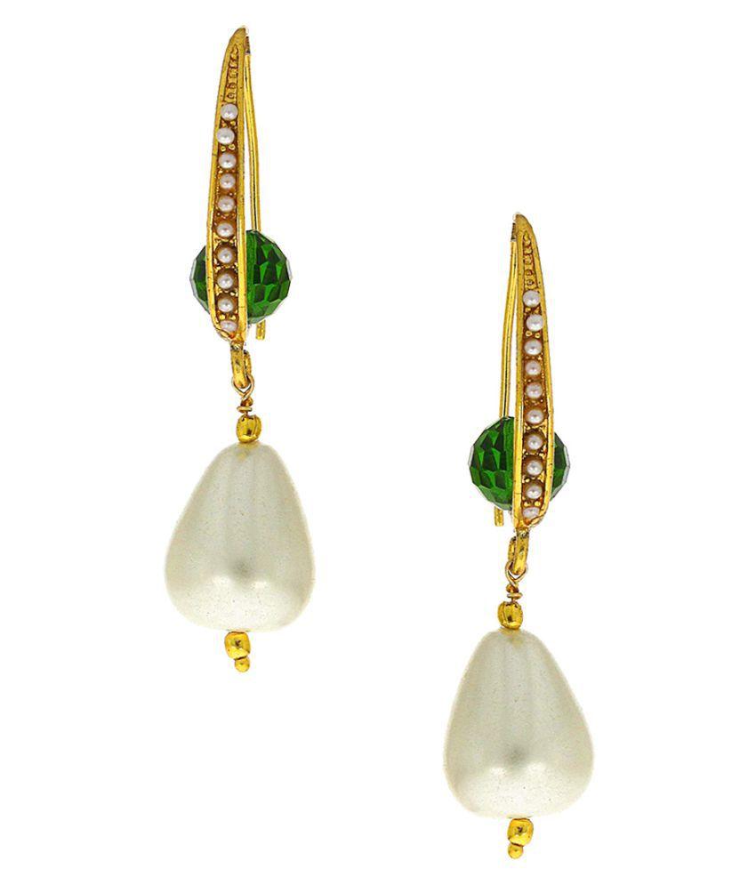 Anuradha Art Golden Finish Designer Styled With White Colour Beads Traditional Jhumki Styled Earrings For Women/Girls