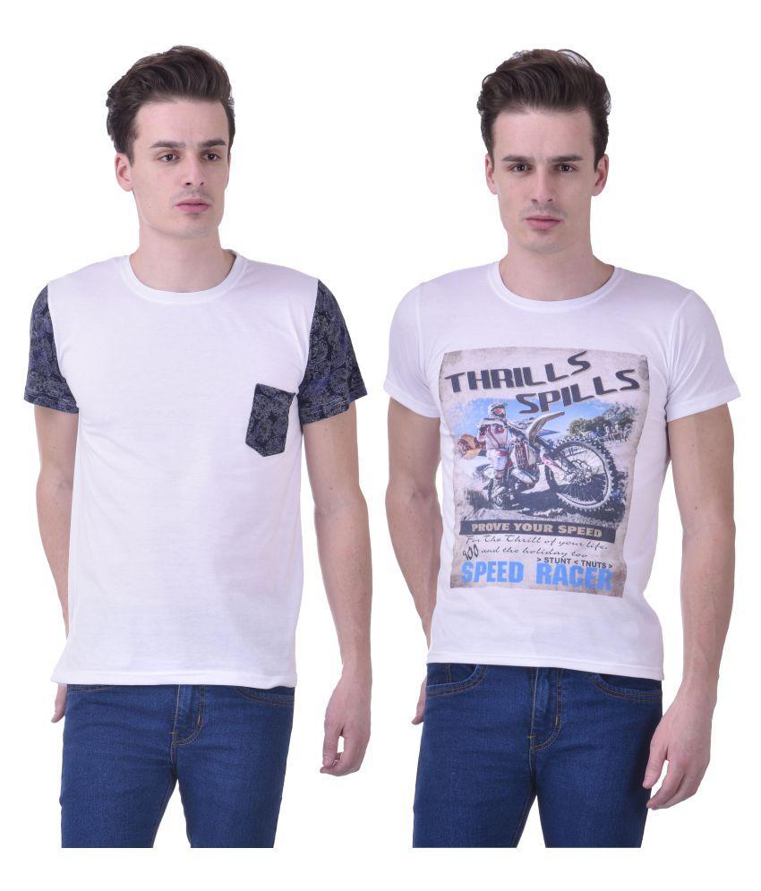 Chakkor White Round T-Shirt Pack of 2