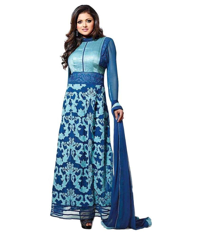 Raul Zone Blue Georgette Dress Material