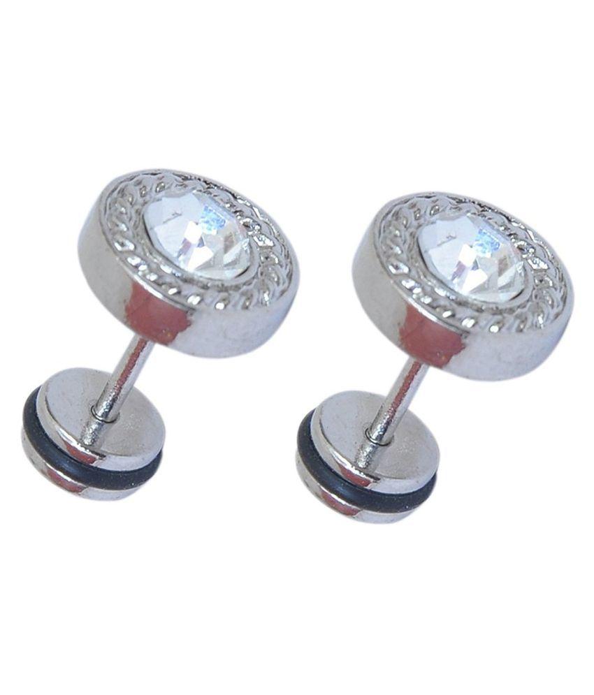 c6e2ba145 ... Summer Collection Chooz Designer Studio Salman Khan Style Round Diamond  Silver Stud Earring For Men Stud ...