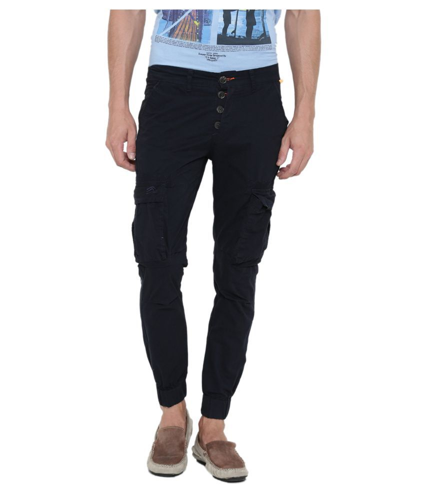 Fifty Two Navy Blue Regular -Fit Flat Joggers