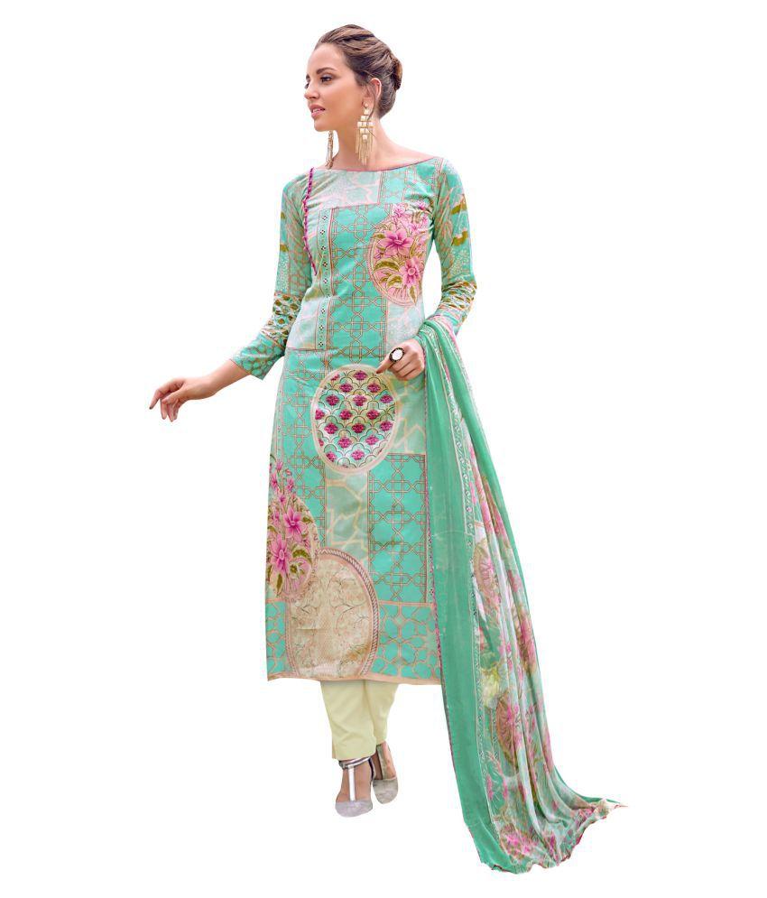 Magikmania Multicoloured Cotton Dress Material