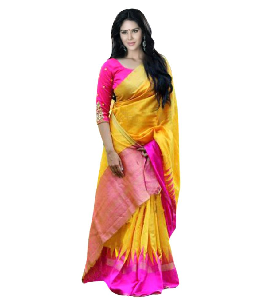 Shopkio Yellow Bhagalpuri Silk Saree Buy Shopkio Yellow