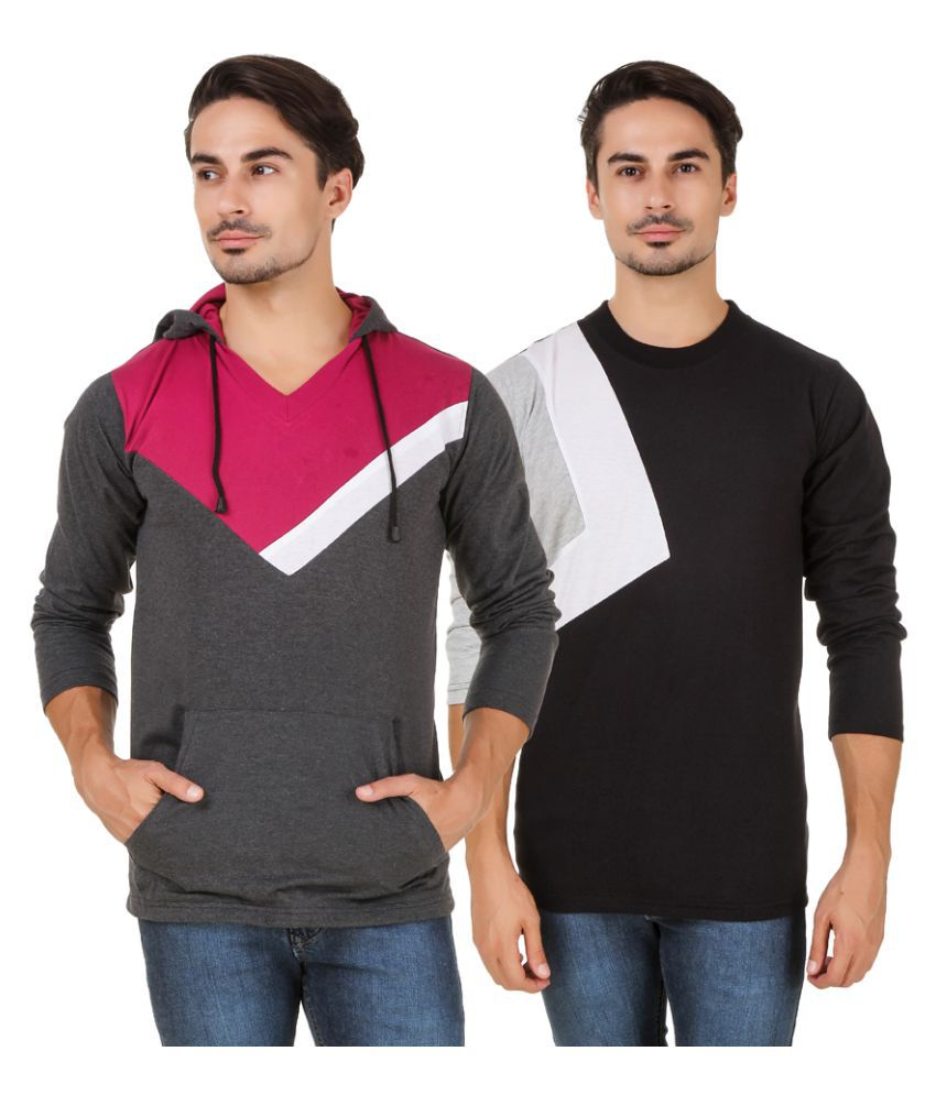 Aurelio Marco Multi Hooded T-Shirt Pack of 2