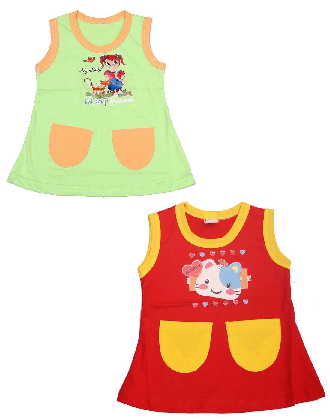 bb3233abab Babeezworld Regular Wear Summer Baby Girl Cotton Half Sleeves Cut Sleeve  Sleeveless Vest Jhabla A line Frock Dress (Kids Pack Of 2) - Buy  Babeezworld ...