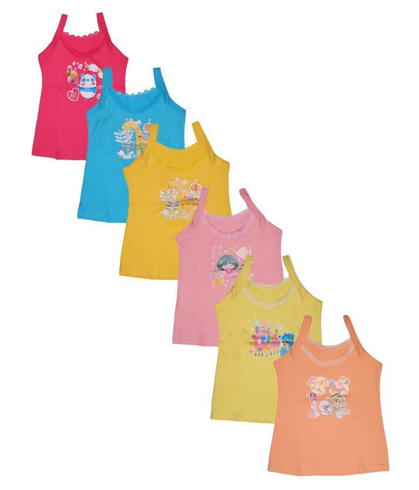 Babeezworld Baby Girl's Cotton Cut Sleeve Sleeveless Regular Fit Vest Spaghetti Slips Camisole (Kids Pack Of 6)