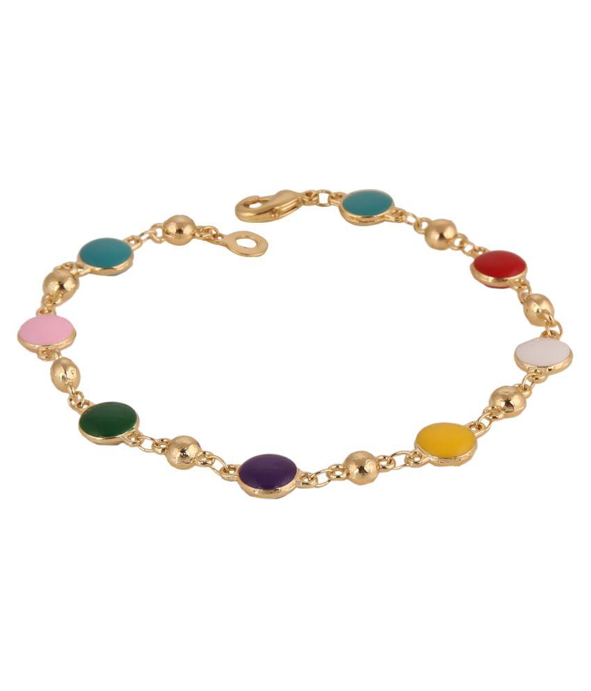 Parinaaz Designer Gold Plated Multicolour Charm Bracelet for Girls and Women