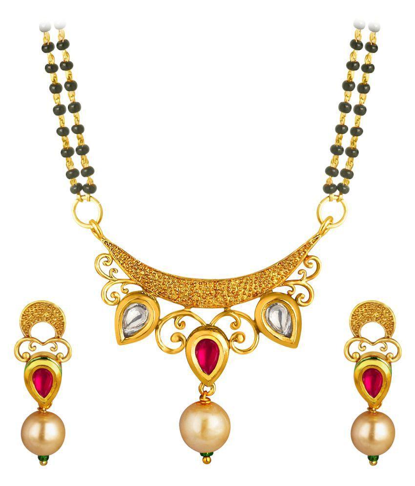 Spargz Auspicious Antique Kundan Indian Traditional Mangalsutra Earring Black Beads Chain AIMS 121