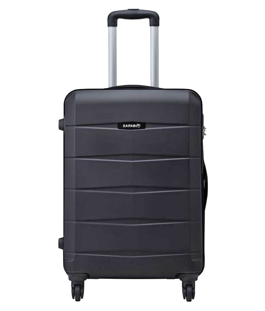 Safari Re-Gloss Anti Scratch Black Small 4 Wheel Hard Luggage Trolley