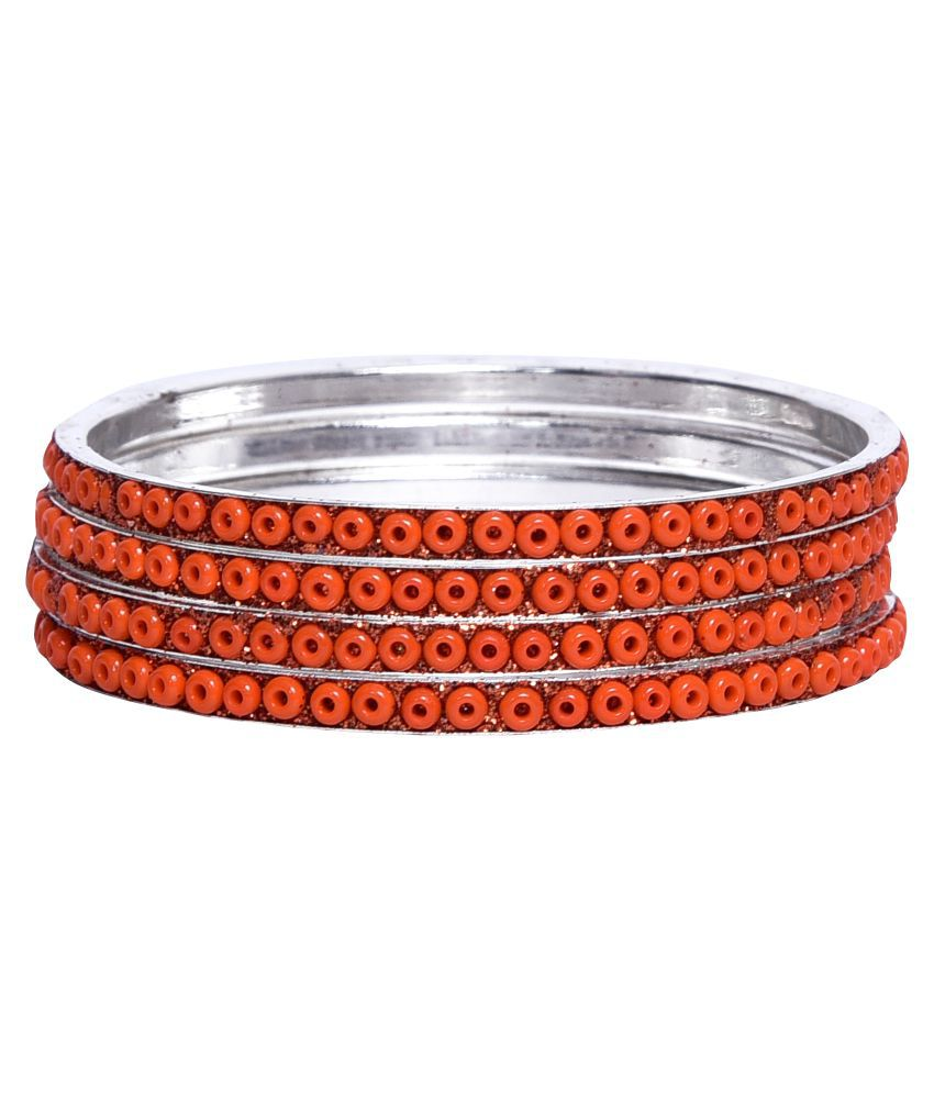 Sukriti Daily Office Party Wear Orange Brass Bangle Set of 4 for Women & Girls