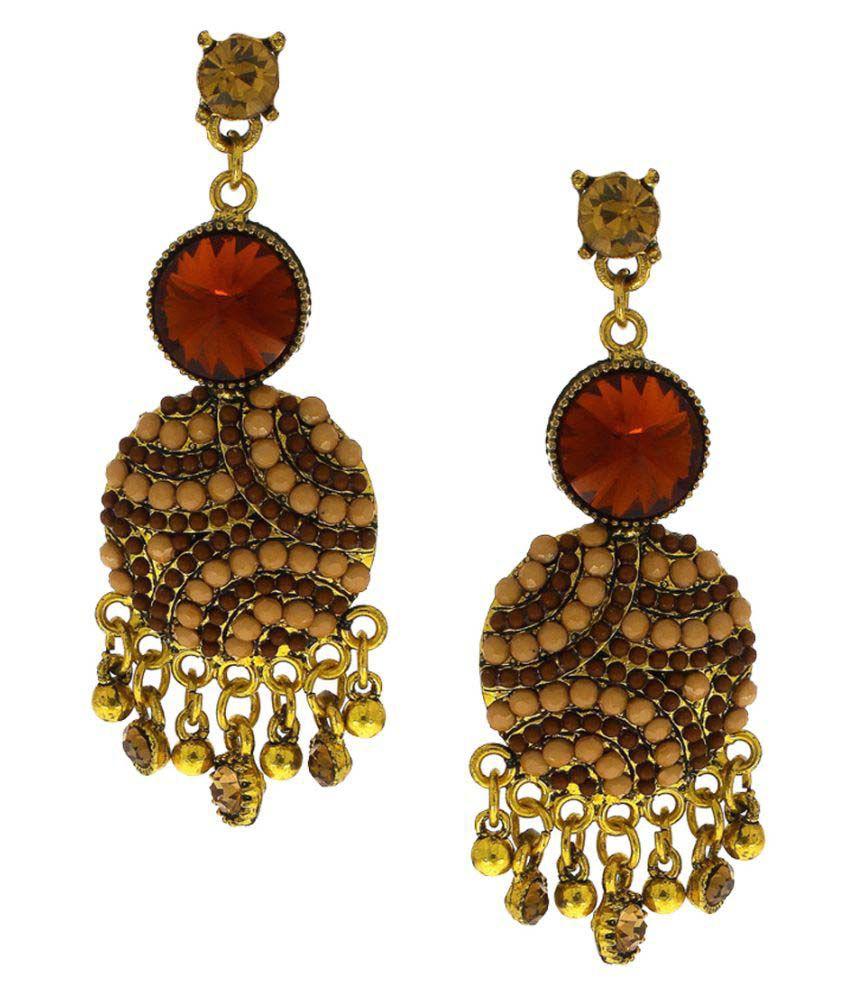 Anuradha Art Brown Colour Designer Wonderful Party Wear Fancy Long Earrings For Women/Girls