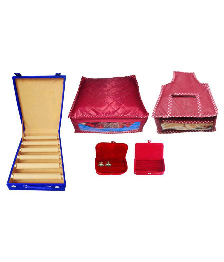 Combo deal 6 roll maroon bangle box large saree cover purple large blouse cover red earring folder and maroon ring box