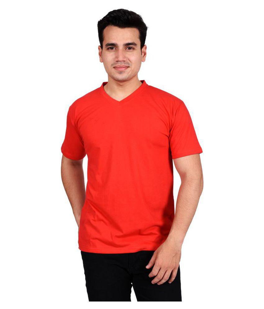 Glizt Red V-Neck T-Shirt