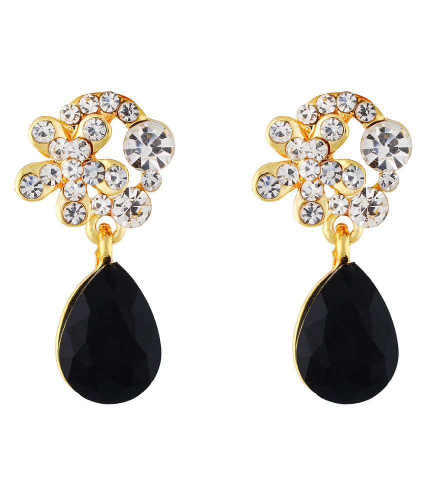 One Stop Fashion Gold and Blue Colour Floral Shape Ear Danglers for Girls and Womens