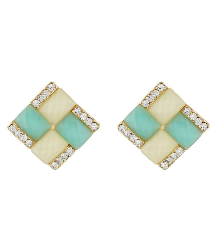 One Stop Fashion Green and Cream Colour Rhombus Shape Ear  Studs for Girls and Womens